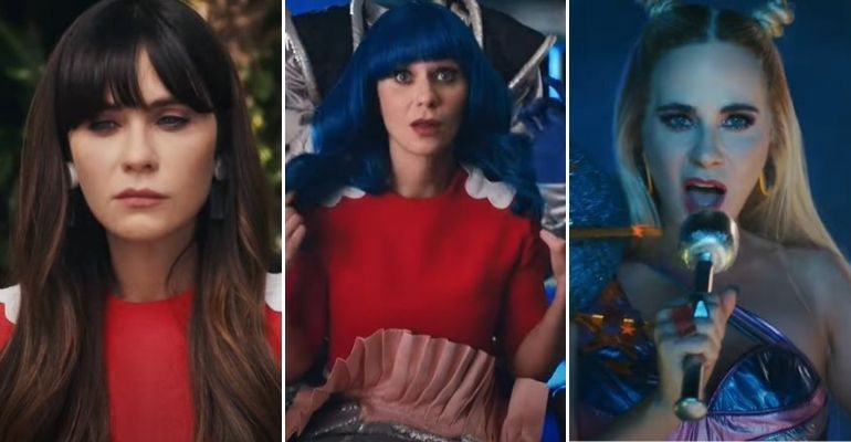 "Zooey Deschanel é confundida com Katy Perry no clipe de ""Not the End of the World"""