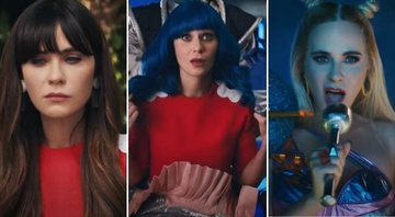 "Zooey Deschanel é confundida com Katy Perry no clipe de ""Not the End of the World"" - Reprodução/YouTube"