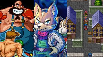 Cena de Punch-Out!!, arte de Star Fox 2 e captura de tela de Breath of Fire 2 - Nintendo