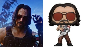 Keanu Reeves como Johnny Silverhand e Funko Pop do personagem - YouTube/Funko