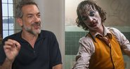 Todd Phillips em entrevista no YouTube e cena de Coringa - YouTube/Warner Bros.