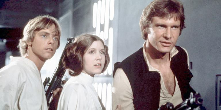 Mark Hamill, Carrie Fisher e Harrison Ford em 'Star Wars'