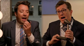 Jimmy Fallon e Stephen Colbert recriam cena de 'Stranger Things' - Reprodução/YouTube