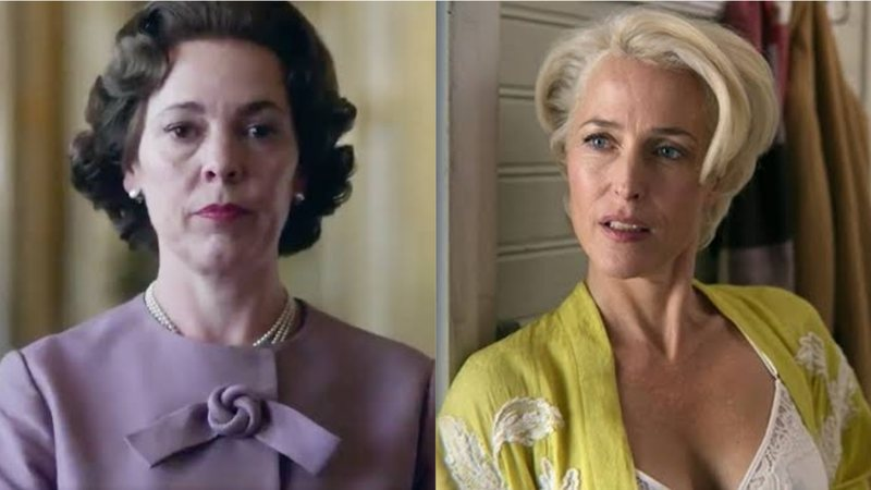 Olivia Colman em The Crown e Gillian Anderson