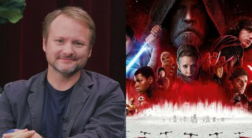 Rian Johnson em entrevista para a Entertainment Tonight e cartaz de Os Últimos Jedi - Entertainment Tonight/Divulgação/Disney