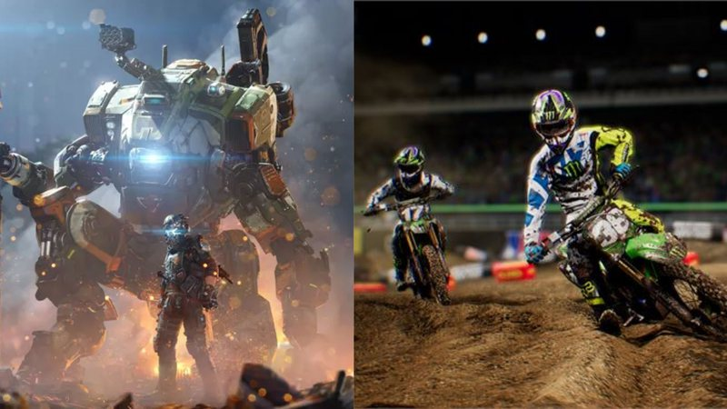 Pôster de Titanfall 2 e captura de tela de Monster Energy Supercross – The Official Videogame