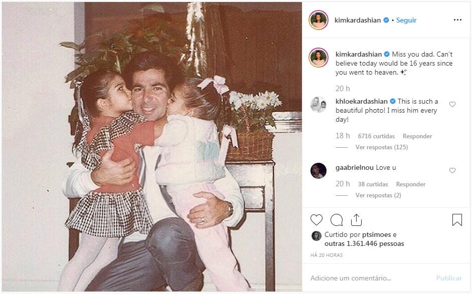 Kim Kardashian homenageia o pai em seu Instagram