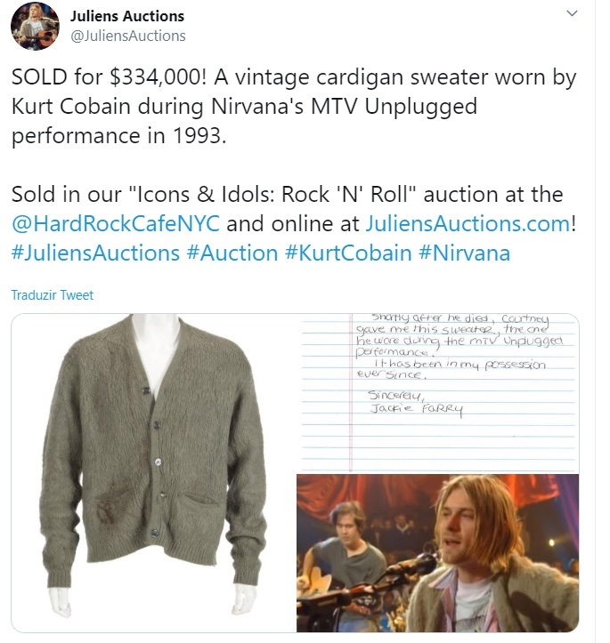 Nirvana: casaco usado por Kurt no MTV Unplugged é leiloado