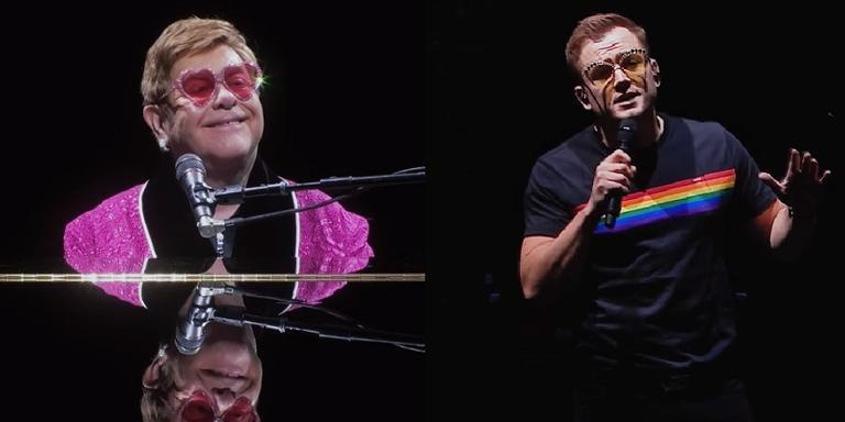 Elton John e Taron Egerton em show na Inglaterra.