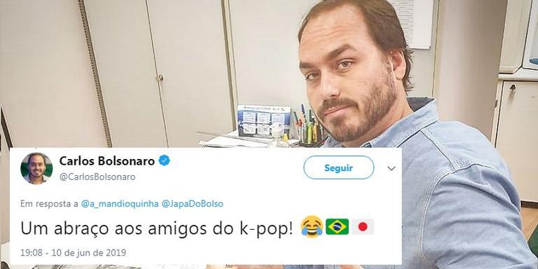 Carlos Bolsonaro usa bandeira do Japão para falar sobre pop coreano.