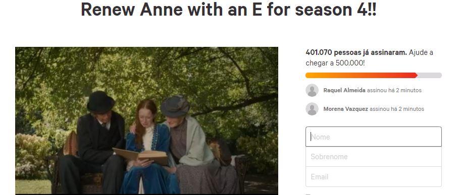 Petição para a renovação de Anne With an E