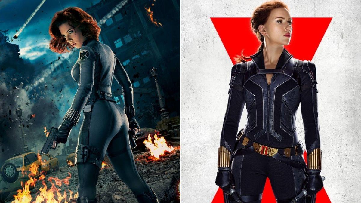 """Comparação entre os pôsteres de """"Viúva Negra"""" e """"Vingadores: Era de Ultron"""" (Divulgação/Marvel Studios)"""