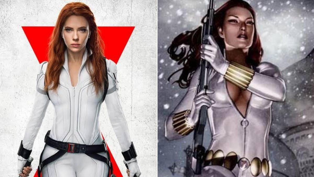 Comparação entre o uniforme branco usado pela Viúva Negra no filme e nos quadrinhos (Divulgação/Marvel)